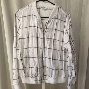 BB Dakota White & Grey Flannel Zip-Up Jacket